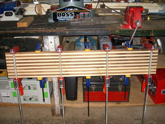 Strips glued up